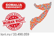 Купить «Vector collage of wildfire Somalia map and red round scratched Woman Right seal stamp. Emergency Somalia map mosaic of burning, power lightning icons. Vector collage for emergency services,», фото № 33490059, снято 26 мая 2020 г. (c) age Fotostock / Фотобанк Лори