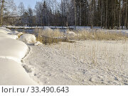 Купить «Winter landscape, creek with open water, wooden bridge crossing the water, plenty of snow in the forest, clear blue sky, Boden county, Norrbotten, Sweden.», фото № 33490643, снято 28 февраля 2020 г. (c) age Fotostock / Фотобанк Лори