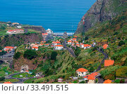 Купить «Sao Vicente, Madeira, Portugal - October 31, 2019: The fragment view of Sao Vicente village from mountain», фото № 33491515, снято 31 октября 2019 г. (c) age Fotostock / Фотобанк Лори