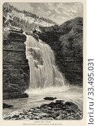 Doubs waterfall (Saut du Doubs), River Doubs Valley. Jura Mountains Regional Natural Park (Parc naturel regional du Haut-Jura). France Europe. Old 19th... Стоковое фото, фотограф Jerónimo Alba / age Fotostock / Фотобанк Лори