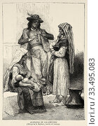 Купить «Characters in typical costumes of the mountain villages of Abruzzo. Italy Europe. Old 19th century engraved illustration image from the book New Universal Geography by Eliseo Reclus 1889.», фото № 33495083, снято 22 марта 2020 г. (c) age Fotostock / Фотобанк Лори