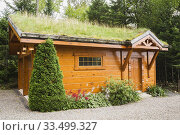 Купить «Golden-brown stained piece sur piece Eastern white pine log and timber frame 2 car garage with carved wood details and Gramineae or Poaceae - Grass and...», фото № 33499327, снято 2 августа 2017 г. (c) age Fotostock / Фотобанк Лори