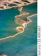Travertine terraces on Pamukkale hot springs, Turkey. Стоковое фото, фотограф J M Barres / age Fotostock / Фотобанк Лори