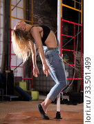 Beautiful slim girl with pylon. Female pole dancer woman dancing on a pole. Стоковое фото, фотограф Яков Филимонов / Фотобанк Лори