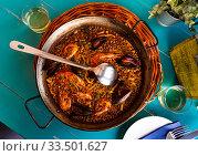 Купить «Paella with seafood – traditional Spanish dish», фото № 33501627, снято 6 июля 2020 г. (c) Яков Филимонов / Фотобанк Лори