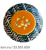 Купить «Cream soup of carrot with gorgonzola», фото № 33501659, снято 4 августа 2020 г. (c) Яков Филимонов / Фотобанк Лори