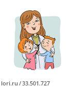 Paediatric doctor with children. Стоковая иллюстрация, иллюстратор Миронова Анастасия / Фотобанк Лори