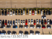 Купить «Top view of wide road with markings and lots of cars at day», фото № 33507575, снято 12 июля 2020 г. (c) Яков Филимонов / Фотобанк Лори