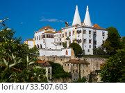National Palace of Sintra at sunny day, landmark of Portugal (2019 год). Стоковое фото, фотограф Яков Филимонов / Фотобанк Лори
