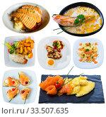 Купить «Dishes with different red fish at plates isolated on white background», фото № 33507635, снято 23 мая 2020 г. (c) Яков Филимонов / Фотобанк Лори