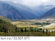 Купить «Altai mountains. River valley», фото № 33507971, снято 19 августа 2013 г. (c) Gagara / Фотобанк Лори