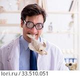 Funny crazy professor studying animal skeletons. Стоковое фото, фотограф Elnur / Фотобанк Лори