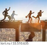 Купить «Financial concept crossing dollar bridge», фото № 33510635, снято 4 июля 2020 г. (c) Elnur / Фотобанк Лори