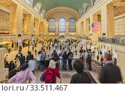 Main Concourse at Grand Central Terminal, New York City, New York State, United States of America. The Terminal, opened in 1913, is designated a National Historic Landmark. (2014 год). Редакционное фото, фотограф Ken Welsh / age Fotostock / Фотобанк Лори