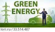 Купить «Electric car and green energy concept», фото № 33514487, снято 10 июля 2020 г. (c) Elnur / Фотобанк Лори