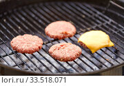 meat cutlet with cheese roasting on barbecue grill. Стоковое фото, фотограф Syda Productions / Фотобанк Лори
