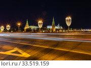 Купить «Новогоднее оформление 2020 в Москве. Ночной вид на Кремль.», фото № 33519159, снято 14 января 2020 г. (c) Светлана Голинкевич / Фотобанк Лори