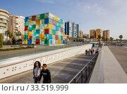 El Cubo of the Centre Pompidou, new harbour district, Muelle Uno harbour promenade, Malaga, Andalusia, Spain, Europe. Редакционное фото, агентство Caro Photoagency / Фотобанк Лори