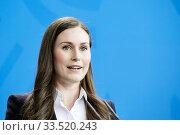 Berlin, Germany - Sanna Marin, Prime Minister of the Republic of Finland. Редакционное фото, агентство Caro Photoagency / Фотобанк Лори