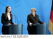 Berlin, Germany - Sanna Marin, Prime Minister of the Republic of Finland and Chancellor Angela Merkel. Редакционное фото, агентство Caro Photoagency / Фотобанк Лори