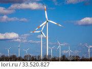 Wind farm, Bedburg, North Rhine-Westphalia, Germany. Редакционное фото, агентство Caro Photoagency / Фотобанк Лори