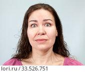 Купить «Широко открытые глаза и напряженная шея при испуге у взрослой женщины», фото № 33526751, снято 9 апреля 2020 г. (c) Кекяляйнен Андрей / Фотобанк Лори