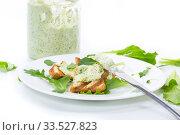 Купить «green bread spread of arugula, curds and eggs with fried toast», фото № 33527823, снято 9 апреля 2020 г. (c) Peredniankina / Фотобанк Лори