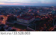 Купить «Evening aerial view on the medieval castle Rzeszow. Rzeszow City. Poland», видеоролик № 33528003, снято 10 марта 2020 г. (c) Яков Филимонов / Фотобанк Лори