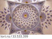 Купить «Ceiling in the mausoleum of Sheikh Shamseddin Kulyal. The tomb that is part of the Dorut Tilavat memorial complex. Shahrisabz, Uzbekistan», фото № 33533399, снято 17 октября 2019 г. (c) Наталья Волкова / Фотобанк Лори