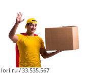 Купить «Super hero delivery guy isolated on white», фото № 33535567, снято 23 декабря 2016 г. (c) Elnur / Фотобанк Лори