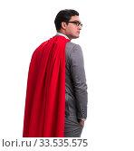 Купить «Super hero businessman isolated on white», фото № 33535575, снято 21 декабря 2016 г. (c) Elnur / Фотобанк Лори