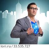 Купить «Superhero preparing to save the city», фото № 33535727, снято 4 июля 2020 г. (c) Elnur / Фотобанк Лори