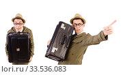 Купить «Young man with briefcase isolated on white», фото № 33536083, снято 27 октября 2013 г. (c) Elnur / Фотобанк Лори