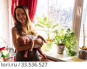 Mother and baby near the sunny window with home flowers. Стоковое фото, фотограф Василий Кочетков / Фотобанк Лори
