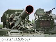 Sambek, Rostov Region, Russia, June 28, 2019: The gun of the Russian self-propelled mortar 2C4 Tulip. Редакционное фото, фотограф Олег Белов / Фотобанк Лори