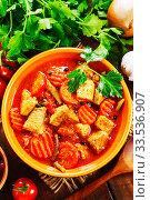 Купить «Meat stew with vegetables», фото № 33536907, снято 7 апреля 2020 г. (c) Надежда Мишкова / Фотобанк Лори