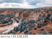 Top view of the rocky shore of the river. The nature of the Urals. Стоковое фото, фотограф Акиньшин Владимир / Фотобанк Лори