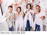 Friends with outstretched hands like zombies. Стоковое фото, фотограф Яков Филимонов / Фотобанк Лори