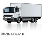 Купить «Vector delivery cargo truck template isolated», иллюстрация № 33538443 (c) Александр Володин / Фотобанк Лори