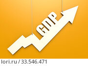 White arrow with GDP word hang on yellow background image with hi-res rendered artwork that could be used for any graphic design. Стоковое фото, фотограф Zoonar.com/Yann Tang / age Fotostock / Фотобанк Лори