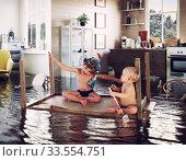 Купить «kids and flooding», фото № 33554751, снято 28 мая 2020 г. (c) Виктор Застольский / Фотобанк Лори
