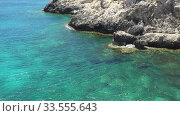 Zoom, video of coastal plateau of Cape Greco with with sea and ships. Cyprus. Стоковое видео, видеограф Serg Zastavkin / Фотобанк Лори