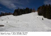 Купить «Beautiful mountains covered with snow. Sunny day and blue sky on a frosty day», фото № 33558527, снято 5 марта 2019 г. (c) Олег Хархан / Фотобанк Лори