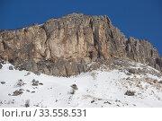 Купить «Beautiful mountains covered with snow. Sunny day and blue sky on a frosty day», фото № 33558531, снято 5 марта 2019 г. (c) Олег Хархан / Фотобанк Лори