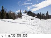 Купить «Beautiful mountains covered with snow. Sunny day and blue sky on a frosty day», фото № 33558535, снято 5 марта 2019 г. (c) Олег Хархан / Фотобанк Лори