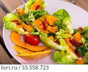 Купить «Recipe of salad with baked pumpkin», фото № 33558723, снято 11 июля 2020 г. (c) Яков Филимонов / Фотобанк Лори