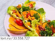 Купить «Recipe of salad with baked pumpkin», фото № 33558727, снято 11 июля 2020 г. (c) Яков Филимонов / Фотобанк Лори