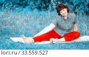 Купить «beautiful mature women with doing yoga in forest park On a summer day.», фото № 33559527, снято 9 августа 2019 г. (c) Акиньшин Владимир / Фотобанк Лори