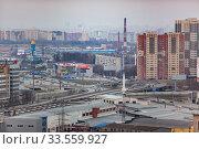 Купить «Въезд в г. Королев с Ярославского шоссе, вдалеке - вид на Мытищи и Москву.», фото № 33559927, снято 15 апреля 2020 г. (c) chaoss / Фотобанк Лори