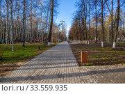 Купить «Центральный парк закрыт для посетителей из-за эпидемии коронавируса, г. Королев, Россия.», фото № 33559935, снято 15 апреля 2020 г. (c) chaoss / Фотобанк Лори